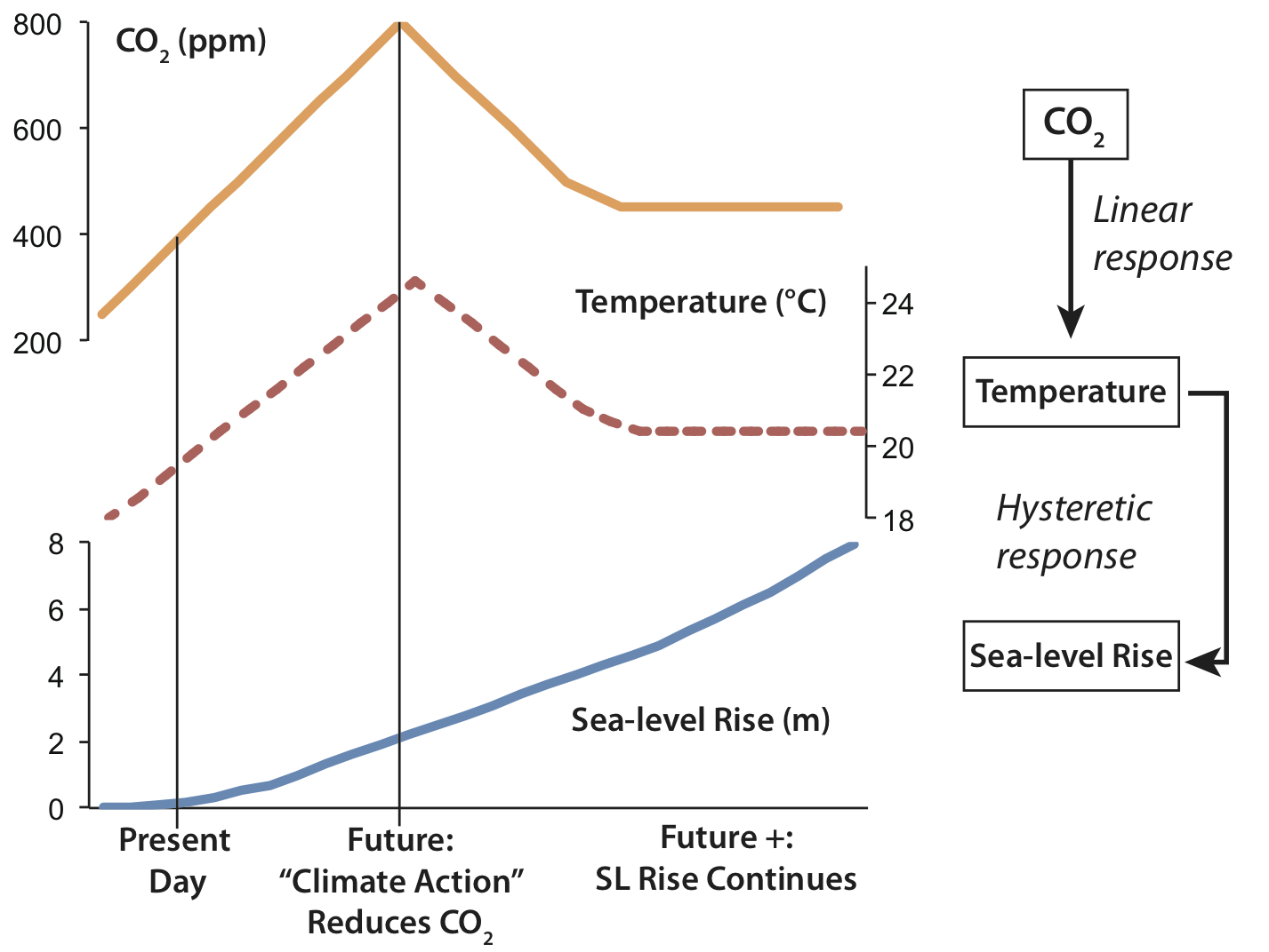 Hypothetical example illustrating the difference between linear responses and hysteretic responses. Note: this represents a major oversimplification of the climate system, and the exact relationships between CO2, temperature and sea-level rise shown here should not be accepted as scientific fact.
