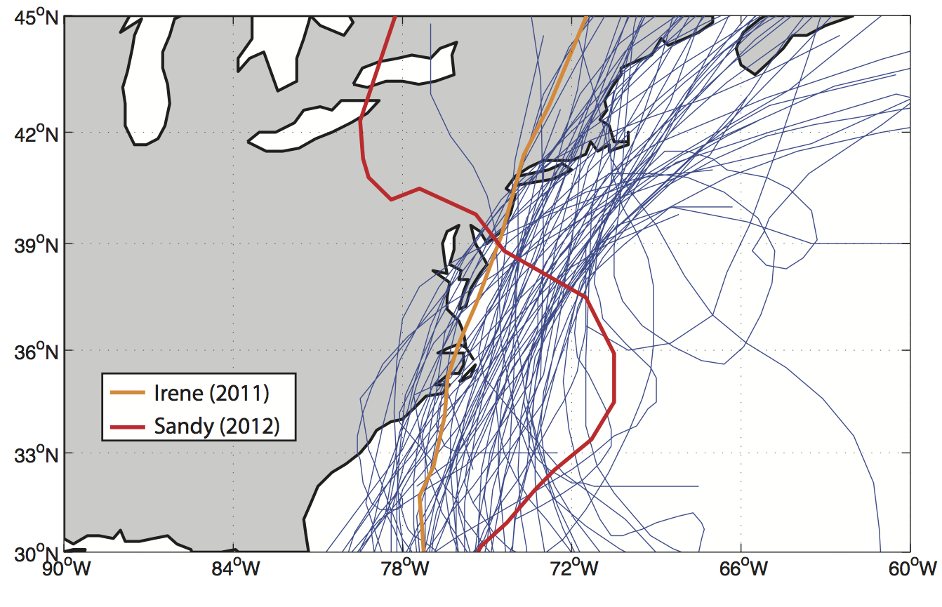 Figure 1. Tracks of Hurricane Sandy (red line), Hurricane Irene (orange line), and all tropical storms and hurricanes from the NOAA HurDat2 historical database that crossed within 3° latitude and 5° longitude of Long Island, New York (blue lines)